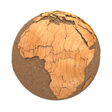 Africa on wooden planet Earth Stock Photo