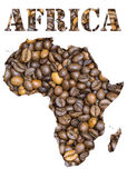Africa word and geographical shaped with coffee beans background Royalty Free Stock Image