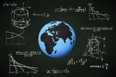 Africa world globe on blackboard with math calculations  Stock Photo