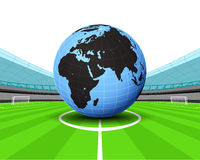 Africa world globe in the midfield of football stadium vector Royalty Free Stock Images
