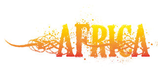 Africa. Written in yellow, orange and red colored letters, with some grace, on a white background stock image