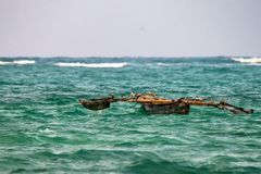 Africal native boat. African native boat for fishing with paddles Stock Photo
