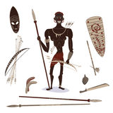 African aboriginal hunter. People with hunting equipment Vector Illustration