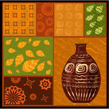 African abstract pattern with vase Royalty Free Stock Photos