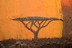 African Acacia tree. Illustration of a typical flat-crowned African Acacia tree stock photography