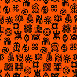 African Adinkra Pattern. Black and white digital art ritual symbols and screen printing nations and tribes Akans of Ghana and Cote DIvoire vector illustration