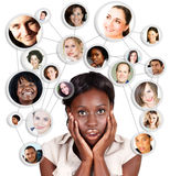 African Amercian business woman and social network stock illustration