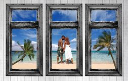 An African Amercian Couple on the Beach Royalty Free Stock Photos