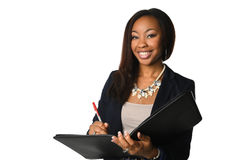 African Amerian Businesswoman With Binder Stock Images