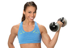 African Amerian Woman Using Dumbbell. Beautiful African American woman using dumbbell isolated over white backgroungd stock image