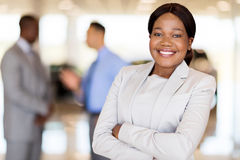 African america businesswoman car dealership stock image