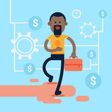 African America Casual Business Man Hold Briefcase Background Financial Success. Flat Vector Illustration Royalty Free Stock Images