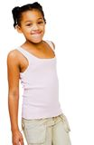 African America girl standing. And smiling isolated over white Stock Image