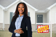 African american Agent in Front of House Stock Photography