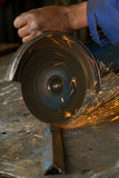 African American with angle grinder Stock Images