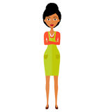 African American animation business lady girl with arms crossed isolated on white background. Vector isolated stock images