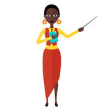 African American animation woman girl teacher tutor character flat cartoon vector illustration isolated on white background. Eps 10 stock illustration