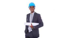 African American architect isolated on white background - black Stock Photos