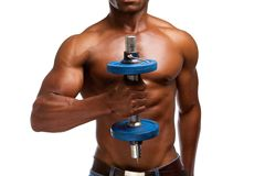 African american athlete lifting gym weight. Close up portrait of a african american athlete lifting gym weight on white background Stock Photography