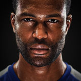 African American Athlete Portrait With Blank Expre stock photos