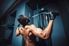 African american athletic man doing exercise in pull down machine back view. black fitness man working out lat pulldown training a. T gym Stock Photography