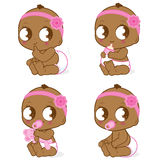 African American baby girl. Baby girl drinking milk, playing with her toy, sitting and having a poop Stock Photography