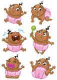 African american baby girl. Set of a cute african american baby girl in different emotions and situations Stock Photo