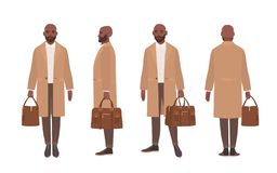 African American bald man dressed in elegant trench coat or outerwear. Male cartoon character isolated on white royalty free illustration