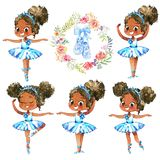 African American Ballerina Princess Character Dancer Set. Cute Child Girl wear Blue Tutu Costume Training in School. Class. Baby Ballet Poster Design Concept royalty free illustration