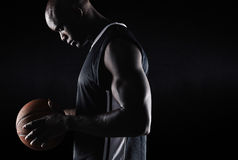 African american basketball player with ball Royalty Free Stock Image