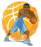 African-American Basketball Player in Blue Jersey stock illustration