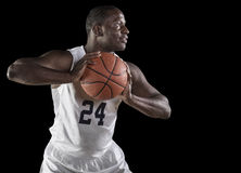 African American Basketball Player holding a ball Royalty Free Stock Image