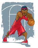 Dynamic Basketball Player in Red with Headband stock illustration