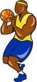 African-American Basketball Player Shoot Ball Cartoon Stock Images