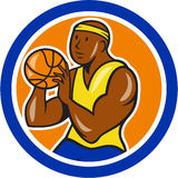 African-American Basketball Player Shooting Cartoon Circle Royalty Free Stock Images