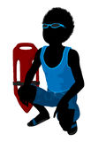 African American Beach Boy Silhouette Illustration Stock Image
