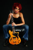 african american beautiful guitar woman στοκ εικόνες