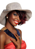 African american beauty woman. Wearing hat with blue beaded necklace Stock Photography