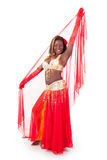 African-american belly dancer posing with veil Stock Photos