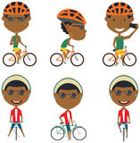 African-American bicycle rider boys Stock Photos