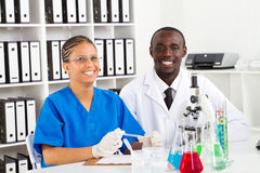African american biologist. In lab Royalty Free Stock Photo
