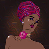 African american black beauty woman portrait with floral decorations. Vector illustration Stock Images