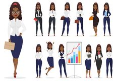 African american black businesswoman lady character different poses design set. Vector cartoon female design. African american black businesswoman lady Vector Illustration