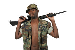 African American Black Man Soldier Royalty Free Stock Images