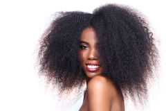 African American Black Woman With Big Hair Royalty Free Stock Image