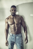 African American bodybuilder man, naked muscular torso Stock Photo