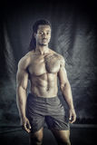 African American bodybuilder man, naked muscular torso Royalty Free Stock Photography