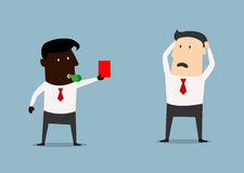 African american boss showing red card to manager Royalty Free Stock Photo