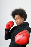 African American Boxer in defence Stock Photography
