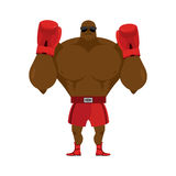 African American boxer. Fighting stand. Strong champion raised h. Is hands up. Red Boxing Glove. Clean gloves. Boxer Greeting in ring before fight. Athlete in Royalty Free Stock Image